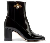 Verzierte Ankle Boots Aus Lackleder -