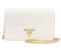Wallet On A Chain Schultertasche Aus Strukturiertem Leder - Elfenbein