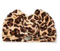 Turban aus Samt mit Leopardenprint -