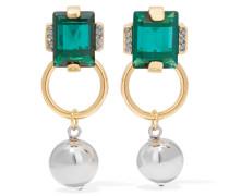 Silber- Und Goldfarbene Ohrringe Mit Kristallen -
