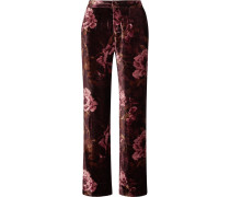 Crono Floral Bedruckte Pyjama-hose Aus Samt -