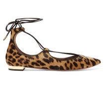 Christy Flache Schuhe Mit Spitzer Kappe Aus Kalbshaar Mit Leopardenprint -
