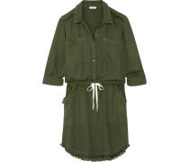Kleid Aus Vorgewaschenem Crêpe De Chine Mit Fransenbesatz -