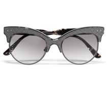 Sonnenbrille aus Azetat und Intrecciato-Leder mit Cat-Eye-Rahmen