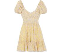 Ashley Gerafftes Minikleid aus Floral Bedrucktem Seiden-georgette