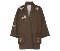 Bestickte Jacke aus Baumwoll-Canvas mit Futter aus Shearling-Imitat