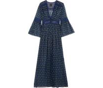 Floral Bedruckte Kimonojacke Aus Krepon Aus Einer Seidenmischung Mit Spitzenbesatz - Blau