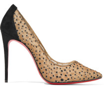 Follies Lace 100 Pumps aus beflocktem Mesh in glitzernder Metallic-Optik mit Velourslederbesatz
