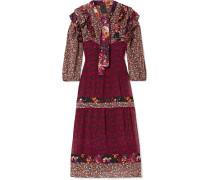 Butterflies And Bells Kleid aus Bedrucktem Seiden-jacquard mit Rüschen -