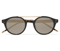 Sonnenbrille Mit Rundem Metallrahmen Und Verspiegelten Gläsern - Schwarz