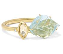 Maya Leaf Ring Aus 18 Karat  Mit Aquamarin Und Diamanten