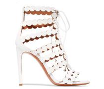Sandalen Aus Lasergeschnittenem Leder Und Veloursleder -
