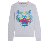 Sweatshirt Aus Baumwolle Mit Aufgesticktem Tiger - Hellgrau