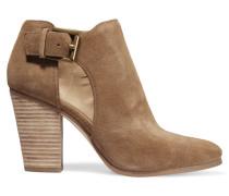 Adams Ankle Boots Aus Veloursleder Mit Cut-out - Camel