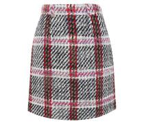 Minirock Aus Bouclé-tweed Mit Tartan-muster - Grau