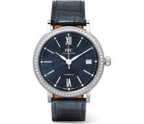 Portofino Automatic 37 Mm Uhr Aus Edelstahl Mit Diamanten Und Alligatorlederarmband -