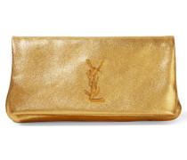 Monogramme West Hollywood Clutch Mit Umschlagklappe Aus Strukturiertem Metallic-leder - Gold
