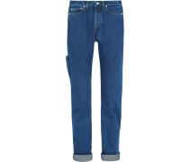 Hoch Sitzende Jeans Mit Geradem Bein - Mittelblauer Denim