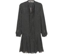 Kleid Aus Einer Seidenmischung Mit Flockdruck Und Biesen - Schwarz