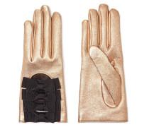 Handschuhe Aus Strukturiertem Metallic-leder Mit Schleifenverzierungen -