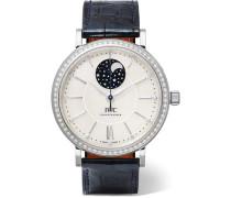 Portofino Automatic 37 Mm Uhr Aus Edelstahl Mit Perlmutt, Diamanten Und Alligatorlederarmband -