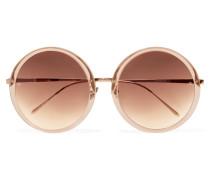 Sonnenbrille Mit Rundem Rahmen Aus Azetat Und Roségoldfarbenem Metall - Puder
