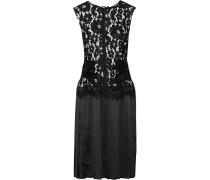 Kleid Aus Schnurgebundener Spitze Und Plissiertem Seidensatin - Schwarz