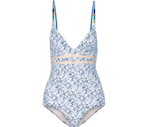 Bedruckter Badeanzug Mit Mesh-einsätzen Und Perlenverzierung - Hellblau