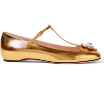 Verzierte Ballerinas aus Leder in Metallic-Optik