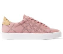 Sneakers Aus Perforiertem Leder Mit Metallic-besatz - Altrosa