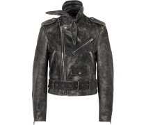 Scarf Bikerjacke aus Leder in Distressed-optik -