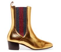Chelsea Boots aus Metallic-Leder und strukturiertem Lamé