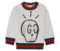 Sweatshirt aus bedrucktem Neopren mit Metallic-Besatz