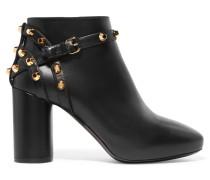 Nietenverzierte Ankle Boots Aus Leder - Schwarz