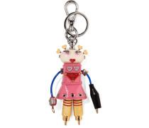 Cheer Robot Verzierter Schlüsselanhänger Aus Strukturiertem Leder -