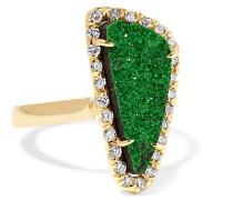 Ring Aus 18 Karat  Mit Granat Und Diamanten