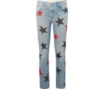 Schmal Geschnittene Boyfriend-jeans Mit Print -