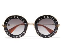 Sonnenbrille Mit Rundem Rahmen Aus Azetat Und Goldfarbenem Metall -