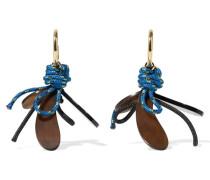 Vergoldete Ohrringe Mit Kordeln Und Horn -