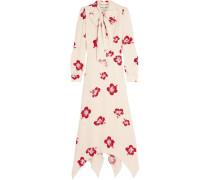 Schluppenkleid Aus Crêpe Mit Blumenprint Und Glitter-details - Creme
