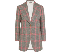 Karierter Tweed-blazer Aus Einer Wollmischung Mit Applikationen -