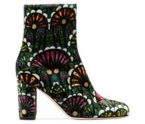 Talise Bedruckte Ankle Boots Aus Samt - Smaragdgrün