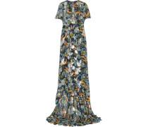 Bedrucktes Kleid Aus Chiffon Aus Einer Seidenmischung Mit Fil Coupé - Navy
