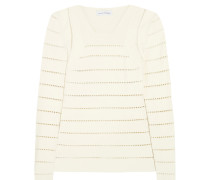 Pointelle Pullover Aus Stretch-strick -