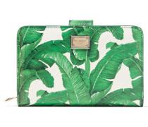 Bedrucktes Portemonnaie Aus Strukturiertem Leder - Grün