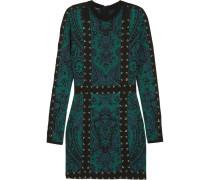Minikleid Aus Jacquard-strick Mit Schnürung - Smaragdgrün