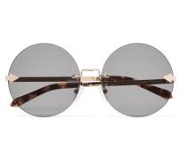 Disco Circus Goldfarbene Sonnenbrille Mit Runden Gläsern -
