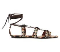 Verzierte Sandalen Aus Bemaltem, Strukturiertem Leder - Braun