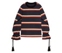 Gestreiftes Sweatshirt Aus Baumwoll-jersey Mit Kordeldetail - Navy