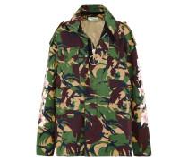 Jacke Aus Baumwoll-canvas Mit Camouflage-print -